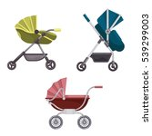 set of folding stroller or... | Shutterstock .eps vector #539299003