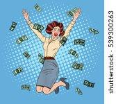 pop art successful jumping... | Shutterstock .eps vector #539300263