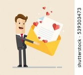 businessman holding envelope... | Shutterstock .eps vector #539303473