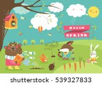 cute animals in spring forest | Shutterstock .eps vector #539327833