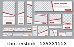 Set of web banners in standard sizes. Templates with place for photo and diagonal stripes and button. Vector illustration | Shutterstock vector #539331553