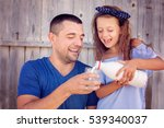 cute little girl with his... | Shutterstock . vector #539340037