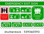 set of emergency exit sign  at... | Shutterstock .eps vector #539360593