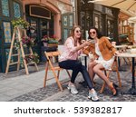two young beautiful hipster... | Shutterstock . vector #539382817