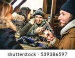 happy friends drinking beer and ... | Shutterstock . vector #539386597