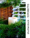 Small photo of New Year Candle l Element for Design Wicker Hamper Vertically
