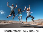 three young friends jumping and ... | Shutterstock . vector #539406373