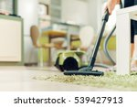 woman cleaning home with vacuum ... | Shutterstock . vector #539427913
