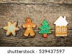 gingerbread cookies over wooden ... | Shutterstock . vector #539437597