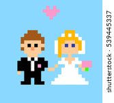 pixel art. newlyweds. groom and ... | Shutterstock .eps vector #539445337