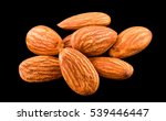 Almonds Nut Isolated On A Blac...