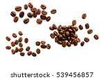coffee beans isolated on white... | Shutterstock . vector #539456857