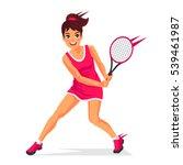young beautiful girl   tennis... | Shutterstock .eps vector #539461987