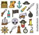 pirate icons set  treasure... | Shutterstock .eps vector #539470663