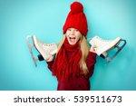 cheerful little girl in warm...   Shutterstock . vector #539511673