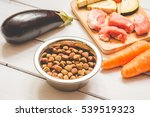 Stock photo ingredients for pet food natural on wooden background 539519323