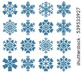 set of sixteen snowflakes... | Shutterstock .eps vector #539533927