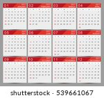 calendar for 2017 year.week... | Shutterstock .eps vector #539661067