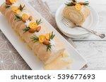 christmas sponge roll on wooden ... | Shutterstock . vector #539677693