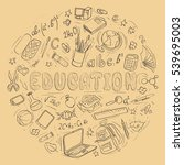 set of hand drawn education... | Shutterstock . vector #539695003