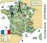 cartoon map of france | Shutterstock .eps vector #539700643