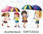kids playing in the rain | Shutterstock .eps vector #539715313
