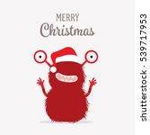 christmas card with cute santa... | Shutterstock .eps vector #539717953