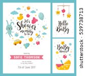 Stock vector baby shower set invitation template with hand lettering cute rabbit and baby cradle labels with 539738713
