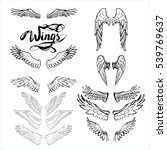 angel wings vector  lettering ... | Shutterstock .eps vector #539769637