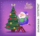 santa claus decorating tree... | Shutterstock . vector #539787967