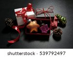 christmas presents with baubles ... | Shutterstock . vector #539792497