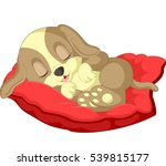 cute dog cartoon sleeping | Shutterstock .eps vector #539815177