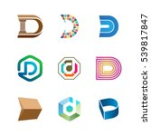 letter d logo set. color icon... | Shutterstock .eps vector #539817847