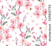Stock photo vintage watercolor spring garden seamless background with pink flowers blooming branches of cherry 539835793
