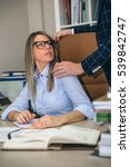 boss sexual harassing to blonde ... | Shutterstock . vector #539842747