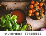 tomato soup. homemade tomato... | Shutterstock . vector #539855893