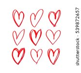 set of red hand drawn heart.... | Shutterstock .eps vector #539872657