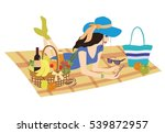 pretty woman on picnic with... | Shutterstock .eps vector #539872957
