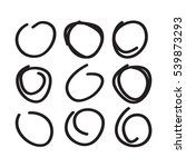set of nine hand drawn circles... | Shutterstock .eps vector #539873293
