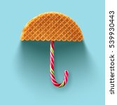 umbrella made of waffle and... | Shutterstock . vector #539930443