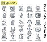thin line online education  e... | Shutterstock .eps vector #539945653