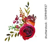 Red and coral roses leaves hand painted watercolor corner bouquet isolated on white background.