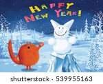 Stock photo red fluffy cat standing in the romantic winter landscape and wishing you a happy new year 539955163