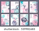 set of eight cards with hand... | Shutterstock .eps vector #539981683