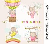 cute girl cat set  for baby... | Shutterstock .eps vector #539986627