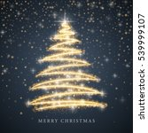 stylized gold merry christmas... | Shutterstock . vector #539999107