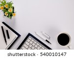 office desk table with keyboard ... | Shutterstock . vector #540010147
