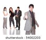 business team posing over white ...   Shutterstock . vector #54002203
