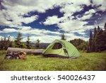 cooking breakfast on a campfire ...   Shutterstock . vector #540026437