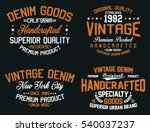vintage denim  premium product  ... | Shutterstock .eps vector #540037237